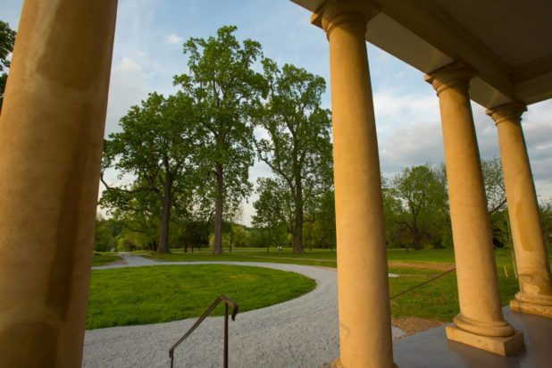 The carriage turnaround in front of Thomas Jefferson's Poplar Forest in VA, as seen from the column-lined front portico.
