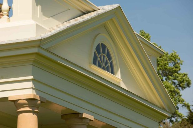 The exterior front window, an element of Thomas Jefferson architecture at Poplar Forest, is seen in detail.