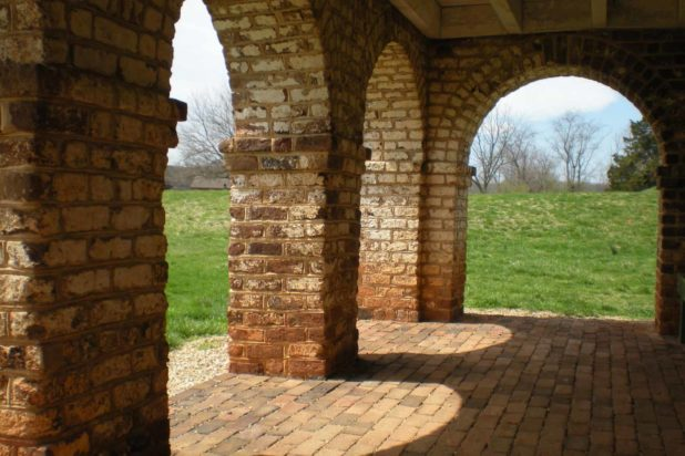 Exposed brick archways on the exterior of Poplar Forest are a result of the historic building restoration.