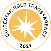 emblem to represent gold transparency. Image shows circle with star silhouette and text around it saying Guidestar Gold Transparency 2021.