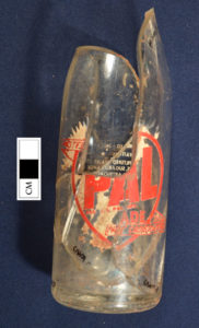 Most of a Pal-Ade bottle, recovered from the Turnaround and mended