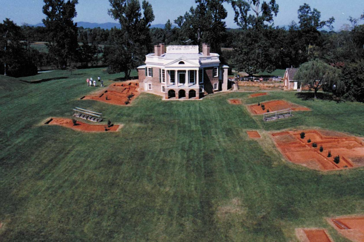 An aerial shot shows Poplar Forest's main building and grounds, with excavation sites surrounding them.